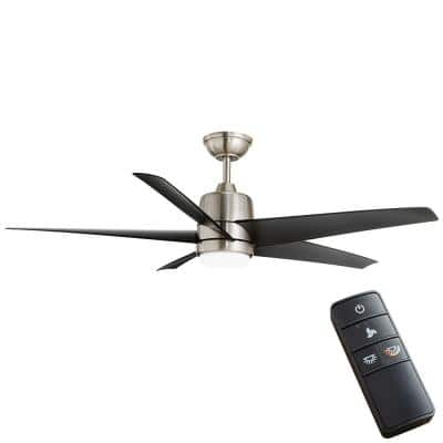 Mena 54 in. White Color Changing Integrated LED Indoor/Outdoor Brushed Nickel Ceiling Fan with Light Kit and Remote