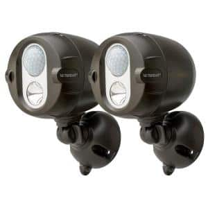 NetBright Networked Outdoor 200 Lumen Battery Powered Motion Activated Integrated LED Spotlight, Brown (2-Pack)