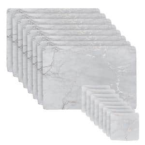 Marble Cork 12 in. x 18 in. Silver Rectangular Placemat and Coasters (Set of 16) 8-Coasters and 8-Placemats