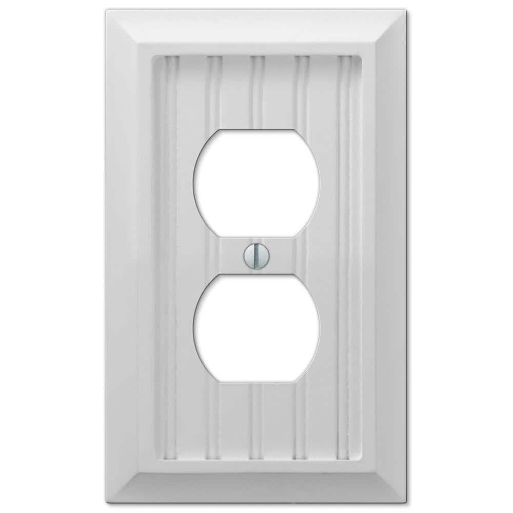 Hampton Bay Cottage 1 Gang Duplex Composite Wall Plate White 279dwhb The Home Depot