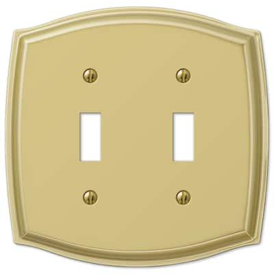 Vineyard 2 Gang Toggle Steel Wall Plate - Polished Brass