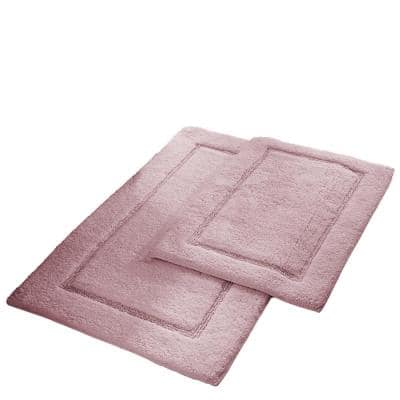2-Pack Solid Loop Cotton 21x34 inch Bath Mat Set with non-slip backing Dusty Rose