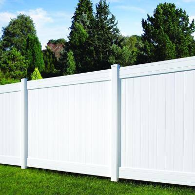 5 in. x 5 in. x 8 ft. Fairfax White Vinyl Privacy Fence Line Post