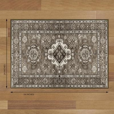 Nevermove Mia Barnwood 2 ft. x 6.3 ft. Machine-Washable Polyester Designer Accent Area Rug with GellyGrippers