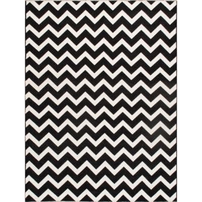 Pasargad Home Palermo Black 3 Ft X 5 Ft Chevron Polly And Chenille Area Rug Pk 5004 3x5 The Home Depot