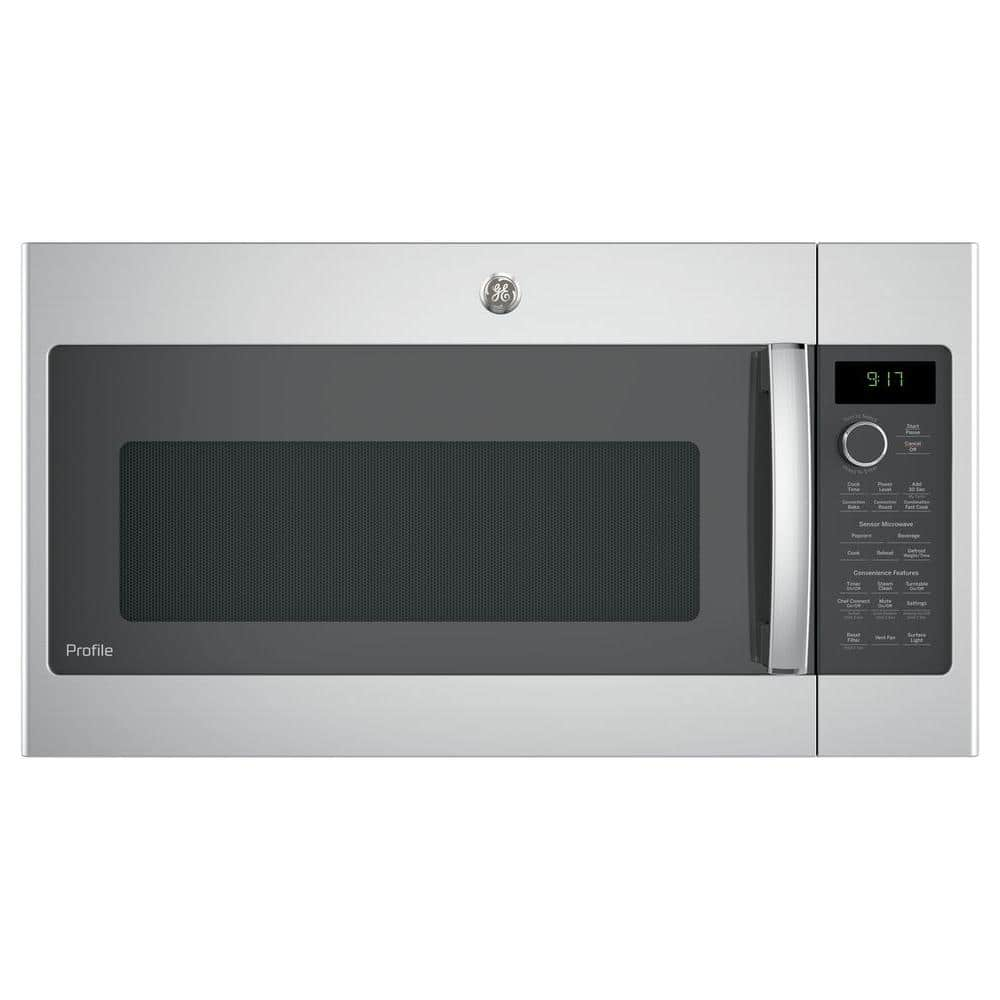 ge profile 1 7 cu ft over the range convection microwave in stainless steel pvm9179skss the home depot
