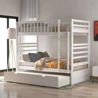 White Twin Bunk Bed with Trundle Bed and End Ladder