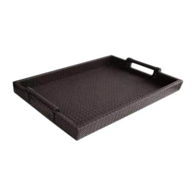 19 in. x 2 in. x 14 in. Brown Faux Leather and Polypropylene Rectangle Serving Tray with Handles