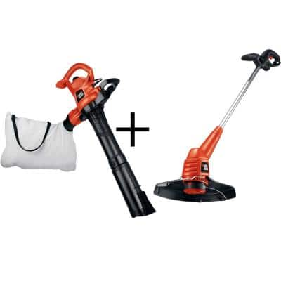 Corded Electric 3-in-1 Leaf Blower/Vacuum/Mulcher and Single Line 2-in-1 String Grass Trimmer/Edger Combo Kit (2-Tool)
