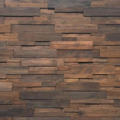 Reclaimed Wood 1/2 in. x 24 in. x 12 in. Dark Teak Wood Wall Panel (10-Panels/Box)