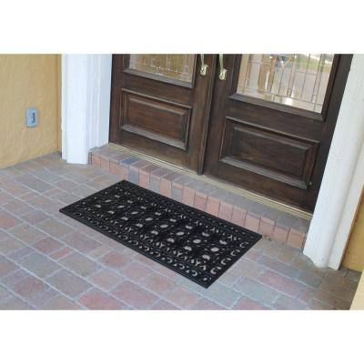 A1HC First Impression Scrollwork 24 in. x 48 in. 100% Rubber Beautifully Hand Finished Elegant Large Double Door Mat