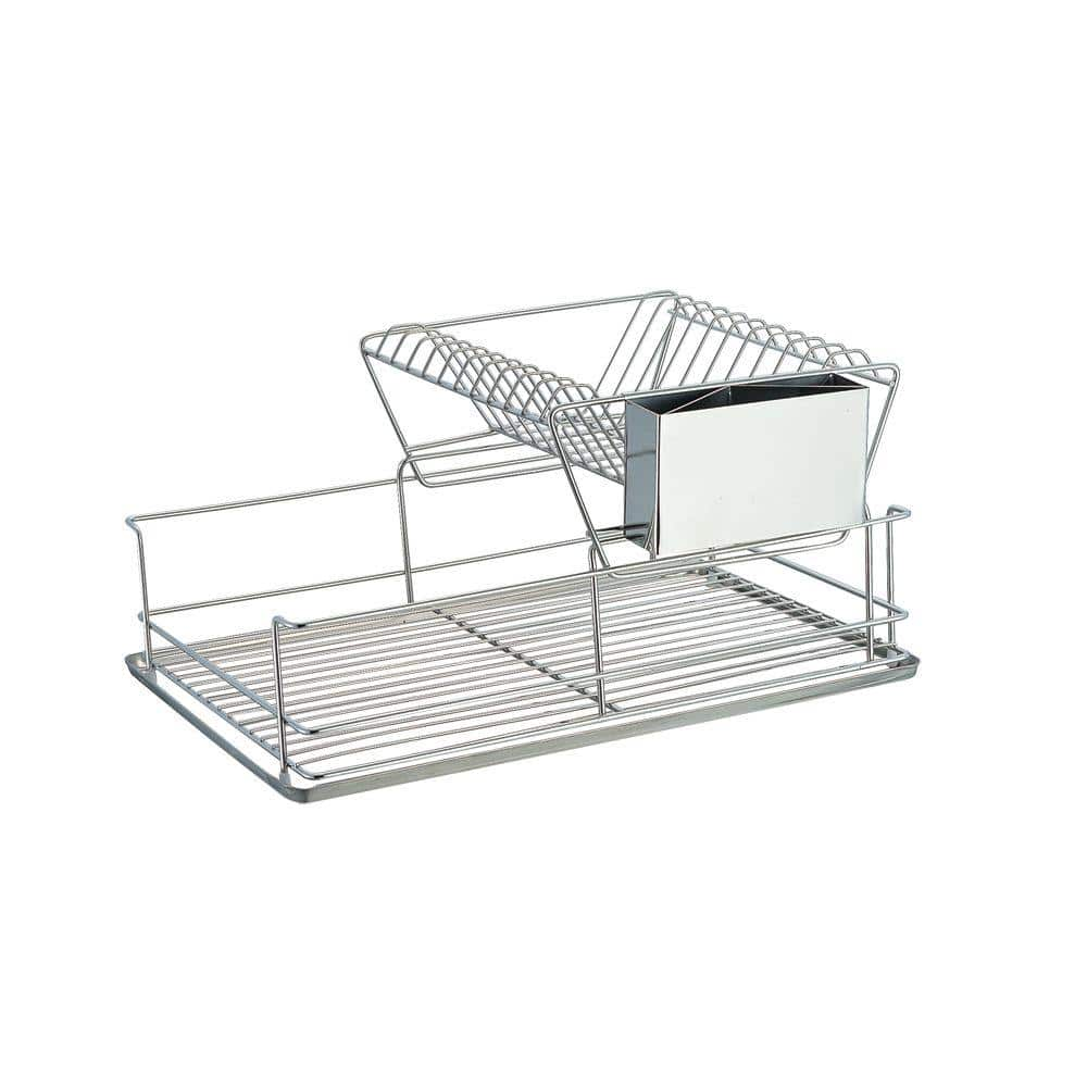 Home Basics Stainless Steel 2 Tier Dish Rack Dr30245 The Home Depot