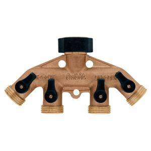 4-Outlet Brass Hose Faucet Manifold