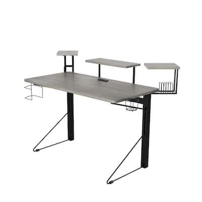 51 in. Rectangular Gray/Black Computer Gaming Desk with Shelf