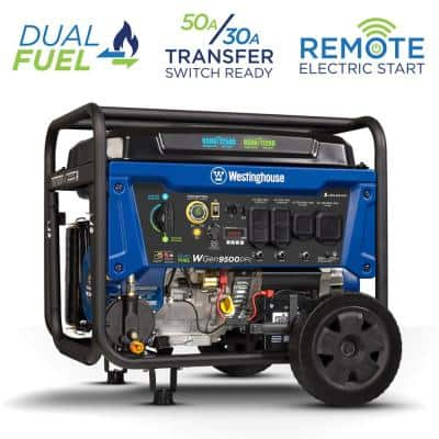 WGen9500DFc 12,500/9,500-Watt Dual Fuel Portable Generator with Remote Start, Transfer Switch Outlet and CO Sensor