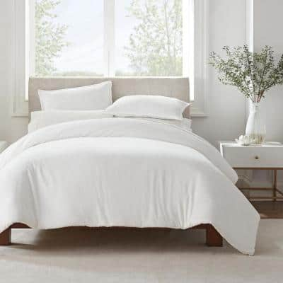 Simply Clean 3-Piece White Solid Microfiber Queen Duvet Set