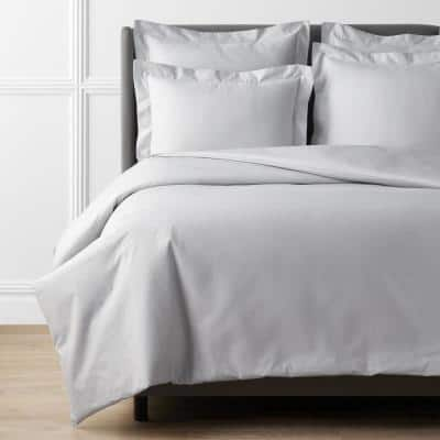 Pearl Gray Solid Supima Cotton Percale Full Duvet Cover