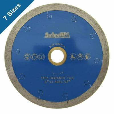 5 in. Continuous Rim Diamond Blade with J-Slot for Tile Cutting