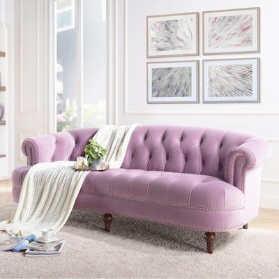 La Rosa 85 in. Lavender Velvet 3-Seater Chesterfield Sofa with Nailheads