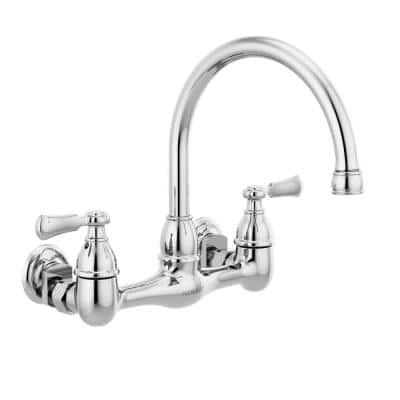 Elmhurst Two Handle Wall Mount Standard Kitchen Faucet in Chrome