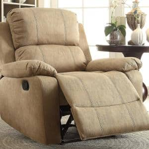 Bina Light Brown Polished Microfiber Recliner