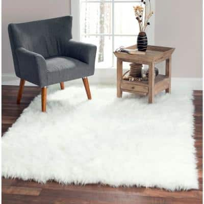 White 5 ft. x 7 ft. Made in France Luxuriously Soft and Eco Friendly Rectangle Faux Fur Area Rug