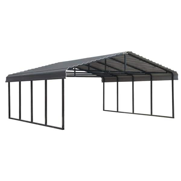 Arrow 20 Ft W X 20 Ft D Charcoal Galvanized Steel Carport Car Canopy And Shelter Cphc202007 The Home Depot