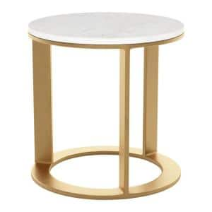 Helena White and Gold Side Table