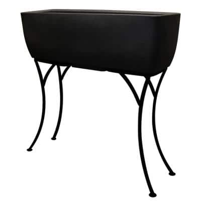 30 in. x 10 in. Black Plastic Elevated Planter with Stand