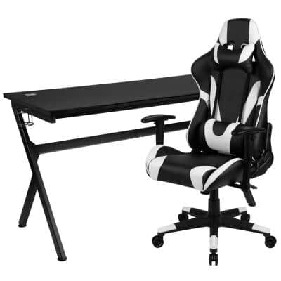 55.13 in. Black Gaming Desk and Chair Set