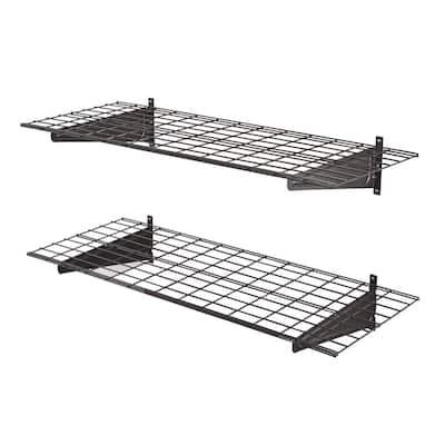 18 in. x 48 in. Steel Garage Wall Shelving in Silver Vein (2-Pack)