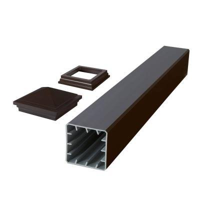 HavenView CountrySide 5 in. x 5 in. x 45 in. Simply Brown Capped Composite Beveled Post Sleeve Kit with Cap and Skirt