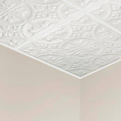 Jamestown 2 ft. x 2 ft. Lay-in Tin Ceiling Tile in Gloss White (20 sq. ft. / case of 5)