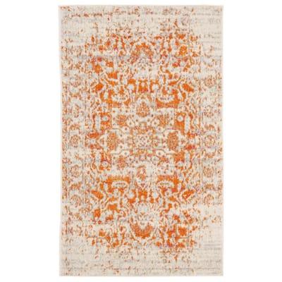 Madison Orange/Ivory 2 ft. x 4 ft. Geometric Area Rug