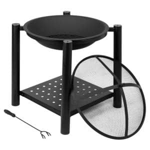 22 in. W X 27.5 in. H Outdoor Iron Brazier Wood Burning Black Fire Pit with a Shelf