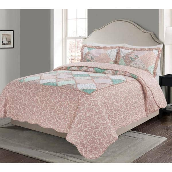 Morgan Home Mhf Home Isabelle Reversible 3 Piece King Quilt Set M594090 The Home Depot
