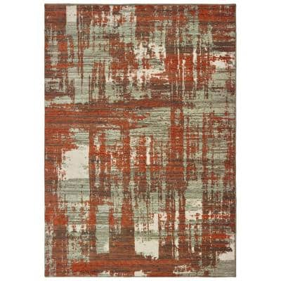 Matteo Grey/Rust 10 ft. x 13 ft. Distressed Abstract Area Rug