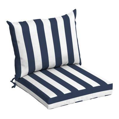 21 in. x 17 in. 2-Piece Deep Seating Outdoor Lounge Chair Cushion in Sapphire Cabana Stripe