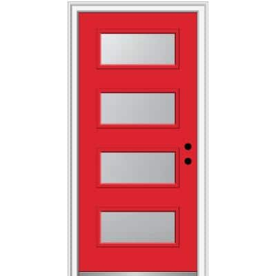 36 in. x 80 in. Celeste Left-Hand Inswing 4-Lite Frosted Painted Fiberglass Smooth Prehung Front Door, 4-9/16 in. Frame