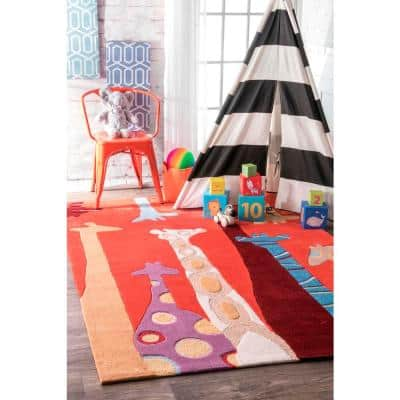 Colorful Giraffes Playmat Red 5 ft. x 7 ft. Area Rug