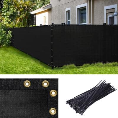 6 ft. H x 50 ft. W Black Fence Outdoor Privacy Screen with Black Edge Bindings and Grommets
