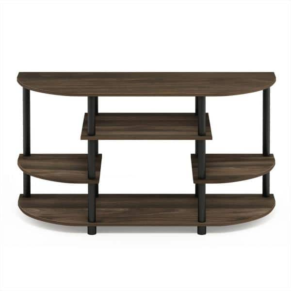Furinno Jaya 42 In Columbia Walnut Wood Tv Stand Fits Tvs Up To 44 In With Open Storage 15116cwn Bk The Home Depot