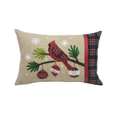 0.1 in. H x 20 in. W x 13.5 in. D Cardinal Noel Peace Joy Jute Christmas Pillow