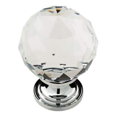 Nora 1-3/16 in. (30mm) Chrome and Clear Faceted Glass Cabinet Knob (4-Pack)