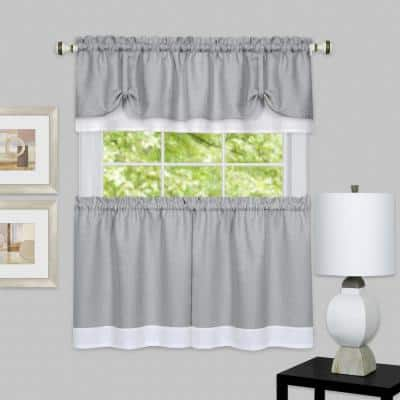 Darcy Grey/White Polyester Light Filtering Rod Pocket Tier and Valance Curtain Set 58 in. W x 36 in. L