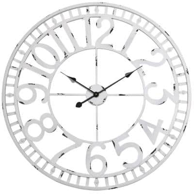 "Manhattan Industrial Wall Clock, Analog, White, 32"""
