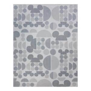 Mickey Mouse Spheres Gray 5 ft. x 7 ft. Abstract Indoor/Outdoor Area Rug