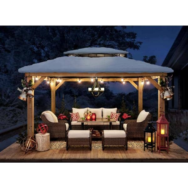 Sunjoy Archwood 13 Ft X 11 Ft Cedar Frame Gazebo With Double Tier Steel Roof Hardtop A102007500 The Home Depot