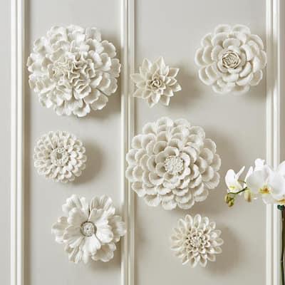White Porcelain Garden Flower Wall Sculptures (Set of 7)