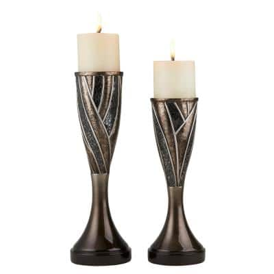Dark Grey Lelei Polyresin Candleholders (Set of 2)